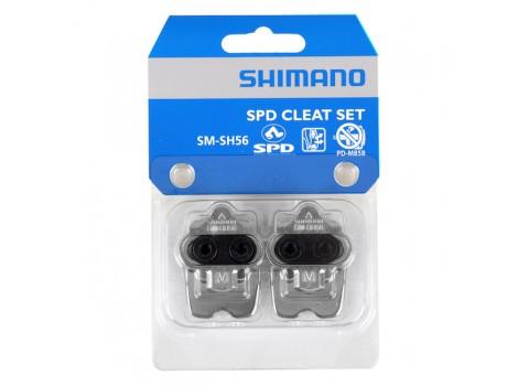 Cales pédales automatiques Shimano SPD SM-SH56 Argent avec plaque - Y41S98092