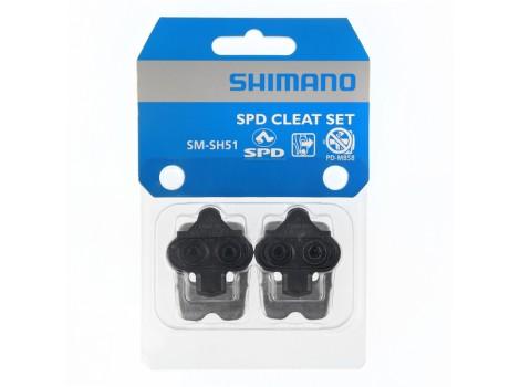 Cales pédales automatiques Shimano SPD SM-SH51 Noir avec plaque - Y42498220