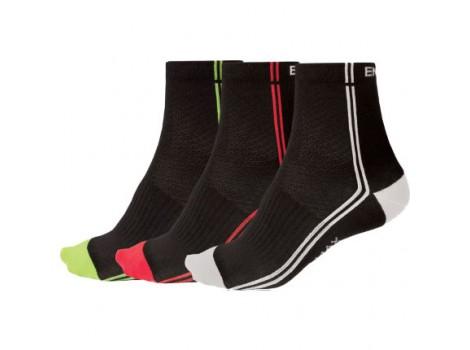Chaussettes vélo Endura Coolmax Stripe Sock II - 3 paires