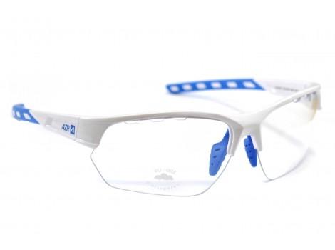 Lunettes vélo AZR Izoard Blanches/ Bleu verres transparents - 3605