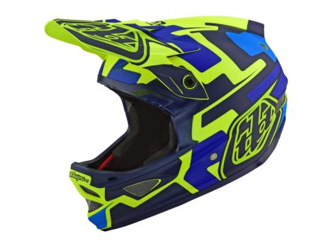 Casque VTT intégral Troy Lee Designs D3 Fiberlite Speedcode Jaune/Bleu
