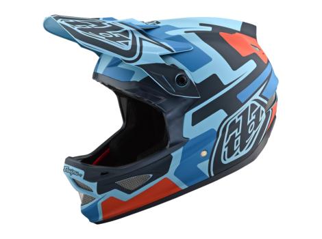 Casque VTT intégral Troy Lee Designs D3 Fiberlite Speedcode Bleu/Noir