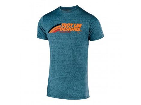 T-Shirt VTT Troy Lee Design Technique Flowline Technical Bleu Lagoon