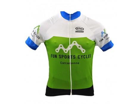 Maillot vélo été Fun Sports Cycles Vert/Bleu