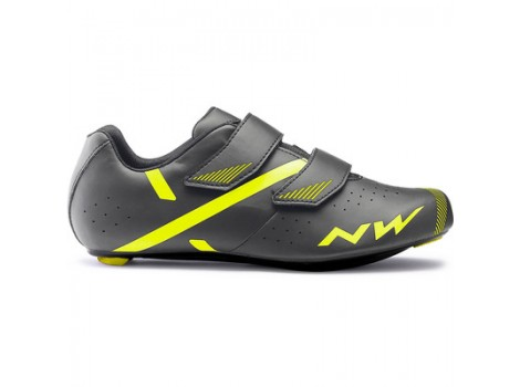Chaussures route Northwave Jet2 Velcro gris/Jaune